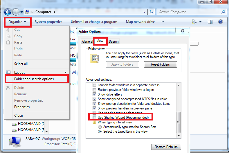 تنظیمات Folder Options در شبکه کامپیوتری