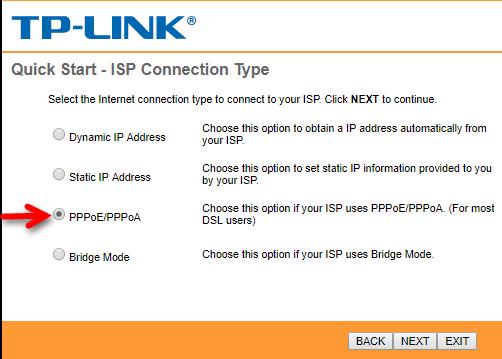 انتخاب نوع اتصال در تنظیمات مودم TP-Link