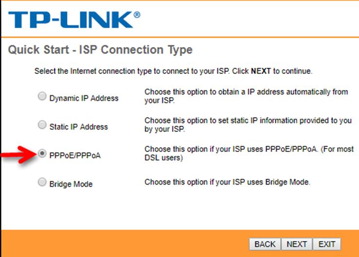 انتخاب نوع ارتباط ISP در تنظیمات راه اندازی مودم